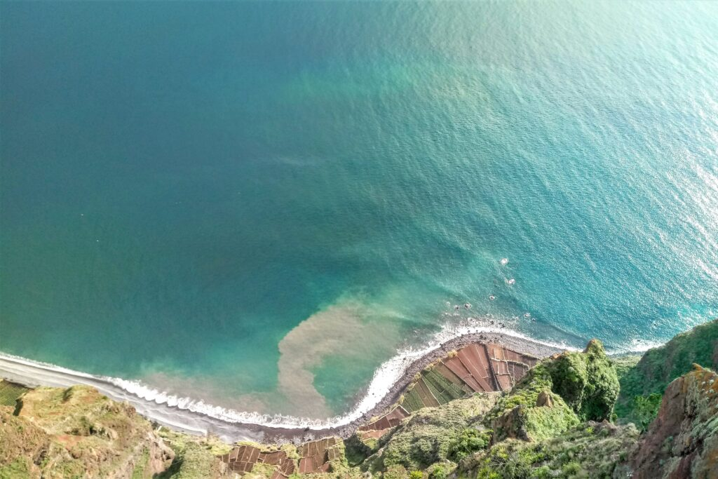 Aerial view of the blue ocean an Faja dos Padres in Madeira island